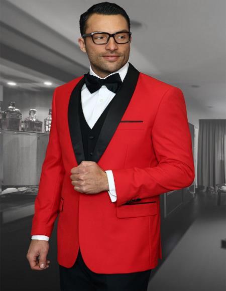 Men's Red 1 Button Shawl Collar Two Toned Tuxedo - Red Tuxedo