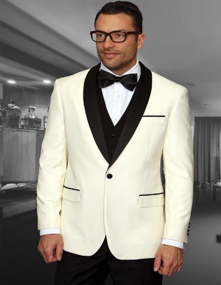 Mens 1 Button Shawl Collar Two Toned Tuxedo Dinner Jacket Blazer Cream