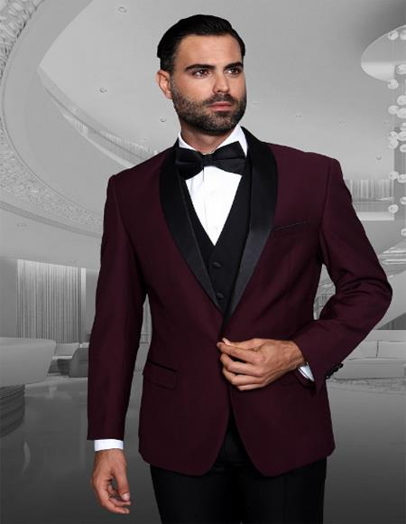 Mens Burgundy 1 Button Two Toned Tuxedo