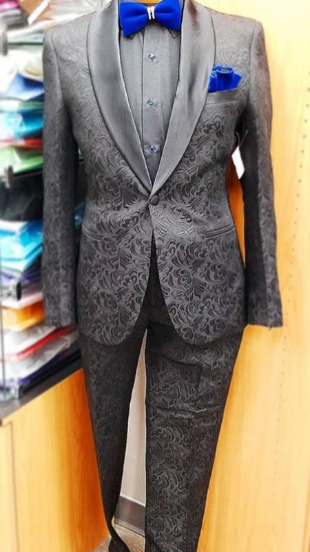 Men's Ash Floral Pattern Shawl Lapel Tuxedo
