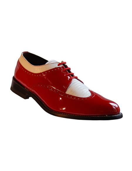 Mens Two Tone Shoes Red and White Slip on - Loafer Red And Tint Of Black