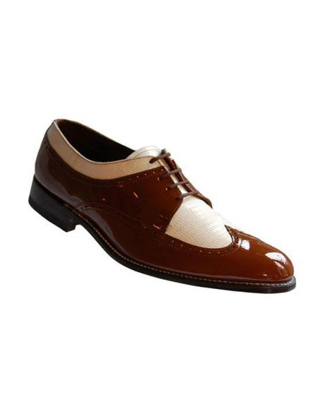 Mens Two Tone Shoes Brown and White