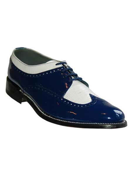 Mens Two Tone Shoes Royal Blue and White