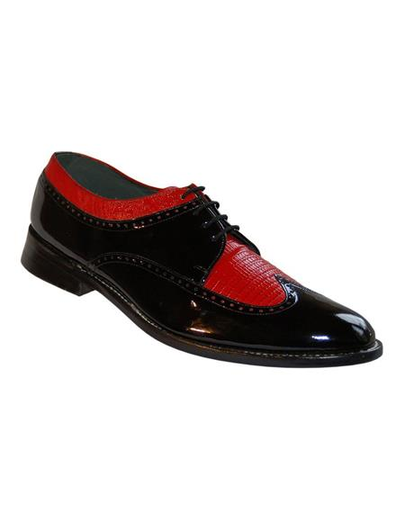 Mens Two Tone Shoes Black and Red
