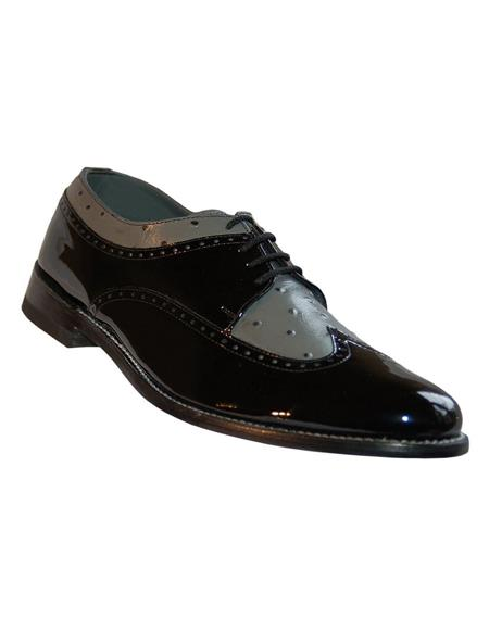 Men's Black and Grey Lace Up Two Tone Stacy Baldwin Shoes
