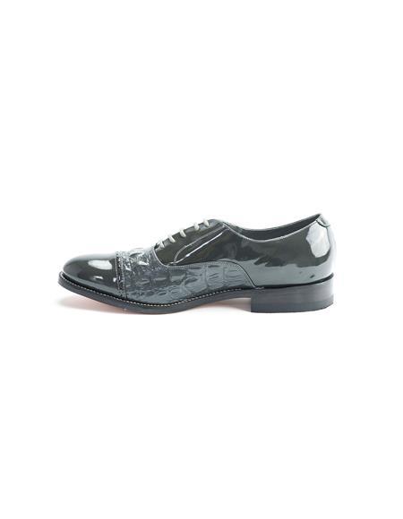 Men's Grey Patent Leather Lace Up Two Tone Shoes - Men's Shiny Shoe