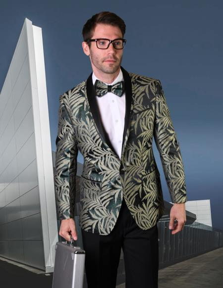 Men's Hunt Green One Button Shawl Lapel Shadow Pattern Tuxedo