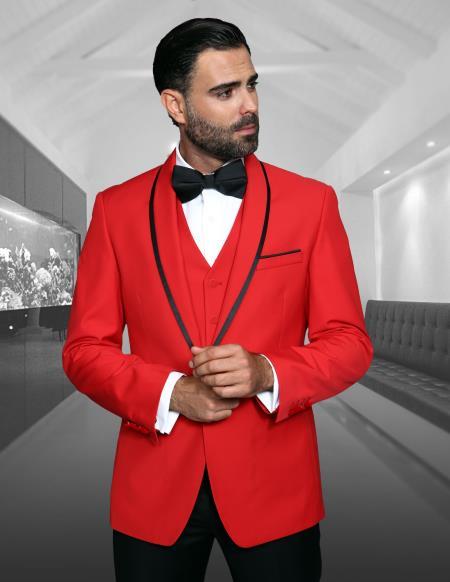 Men's Red Shawl Lapel Besom Pockets Dinner Jacket Prom Wedding