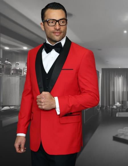 Men's Red And Black Dinner Jacket for Prom and Wedding