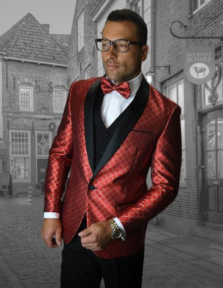 Mens Red Single Breasted Shawl Lapel Collared Shiny Tuxedo - Red Tuxedo
