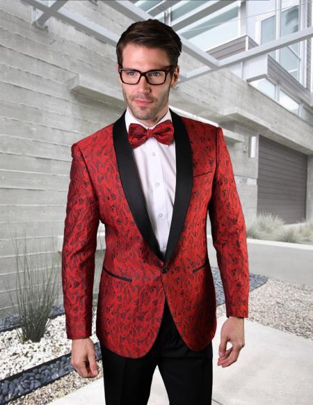 Red Shawl Lapel Prom Wedding Tuxedo Suit for Men