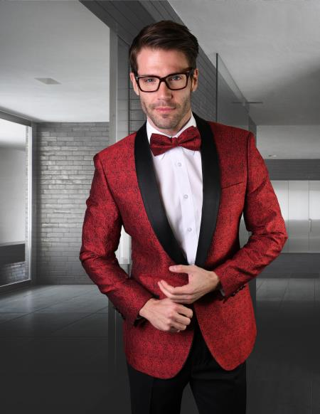 Mens Red One Button Besom Pockets Tuxedo for Prom Wedding - Red Tuxedo