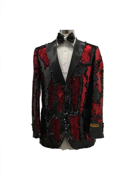 Mens Single Breasted Black ~ Red Two Button Suit