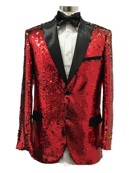 Mens Two Button Red Suit