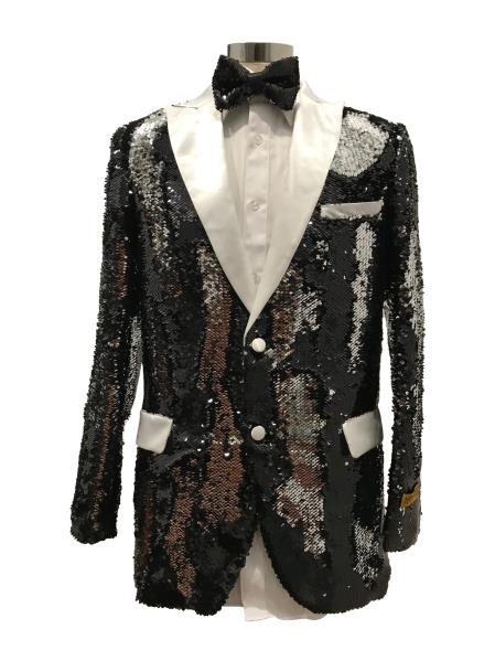 Men's Two Button Black ~ White  Suit