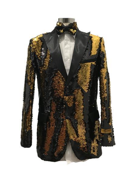Men's Two Button Black  ~ Gold Suit