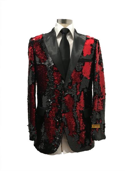 Men's Two Button  Black  ~ Red Suit