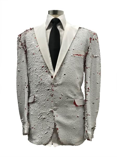 Mens White Two Button Suit