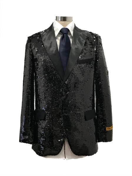 Men's Two Button Black Suit