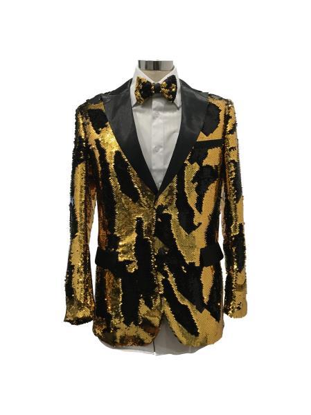 Men's Two Button  Gold ~ Black Suit
