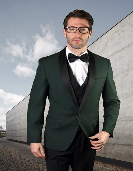 Prom ~ Wedding 1920s Tuxedos Colored Suit With Black Vest and Black Suit 3 Pieces