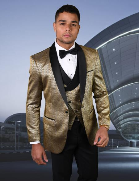 Mens Gold Shawl Lapel One Chest Pocket Suit or Tuxedo