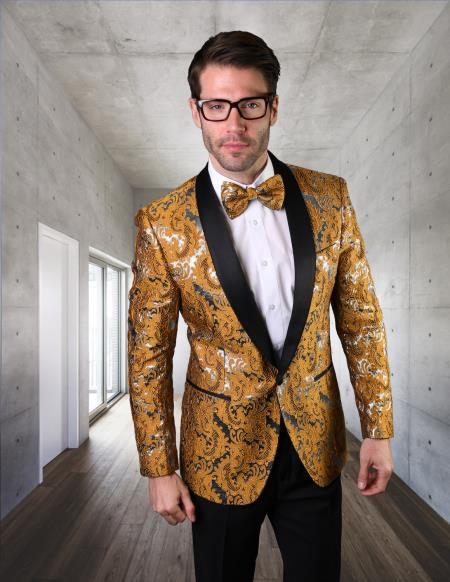 Mens Gold Besom Pockets Floral Pattern Suit or Tuxedo