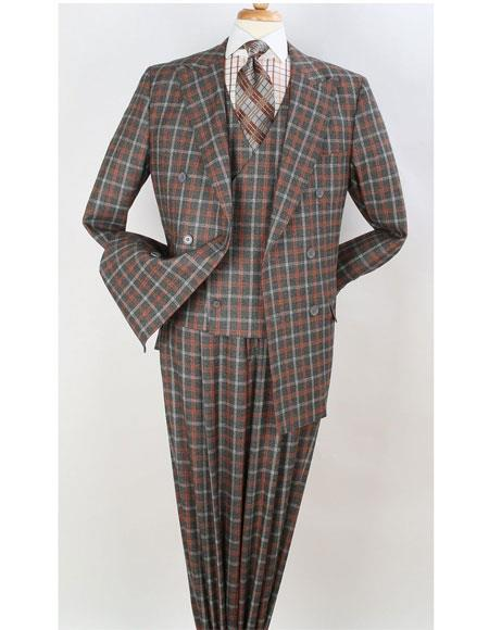 Mens Orange Peak Lapel Double Beasted Checked Pattern Suit