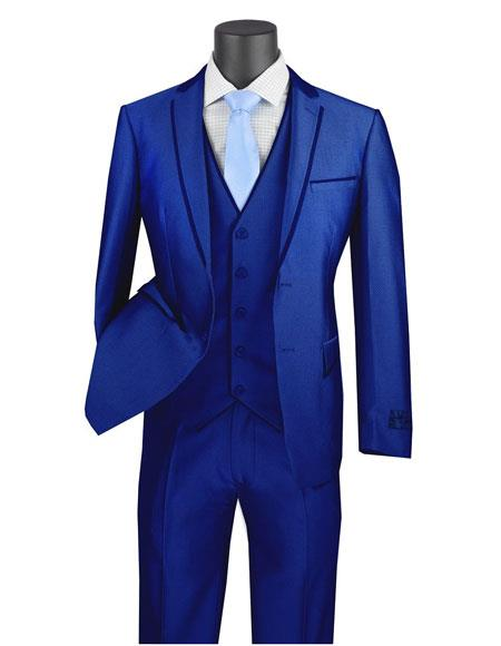 USVD2 Product#Royal blue Tuxedo Vinci Mens 3 Piece Slim Fit Dress Suits for Men - Trimmed Lapel