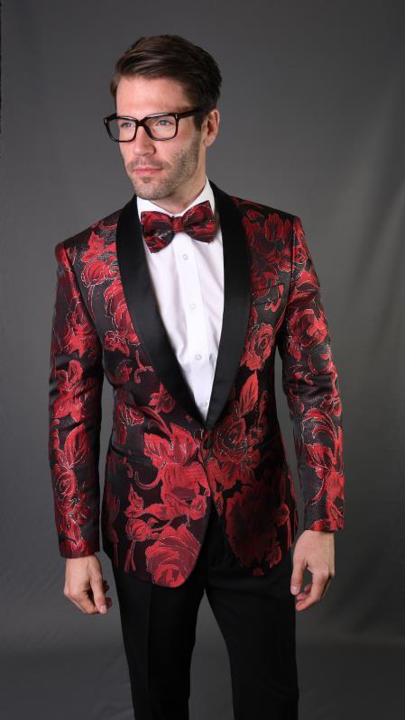 Red Tuxedo And Black Dinner Jacket Blazer ~ Sport Coat
