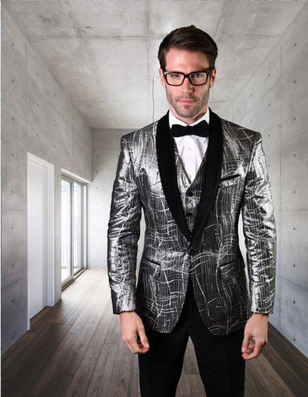 Mens Statement Clothing One Button velvet Suit Silver