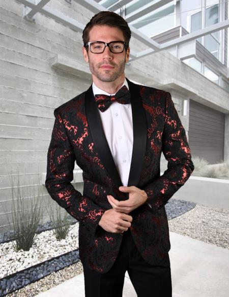 Red Tuxedo And Black Dinner Jacket Blazer ~ Sport Coat