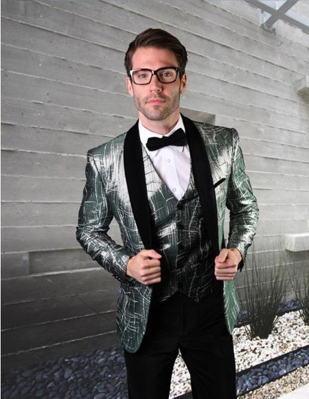 Mens Velvet Statement Clothing Suit One Button Hunder