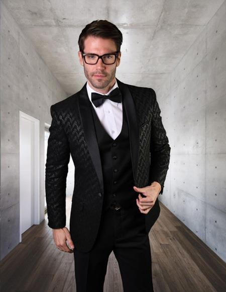 Mens Single Breasted Velvet  Statement Clothing Black Suit