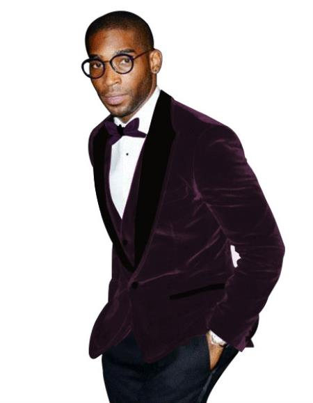 Mens Two Button Purple Peak Lapel Tuxedo Two Toned Velvet Fabric With Matching Bowtie