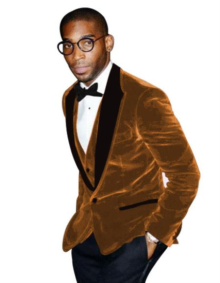 Mens Tan Tuxedo Peak Lapel Two Toned Velvet Fabric With Matching Bowtie