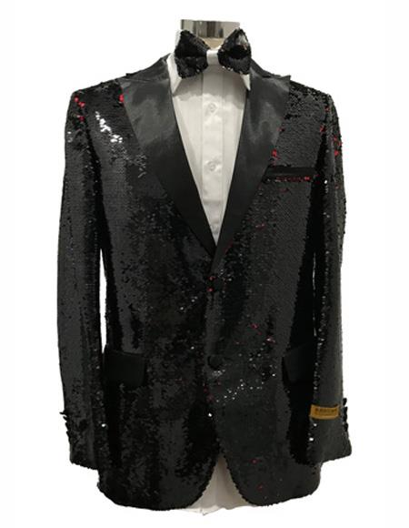 Men's Two Button Black Peak Lapel Tuxedo