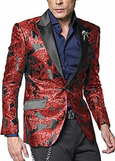 Big & And Tall Mens Sport Coat + Cheap Priced Blazer Jacket For Men + Jacket Two Toned Tuxedo Man For Big Man Hot Red - Red Tuxedo