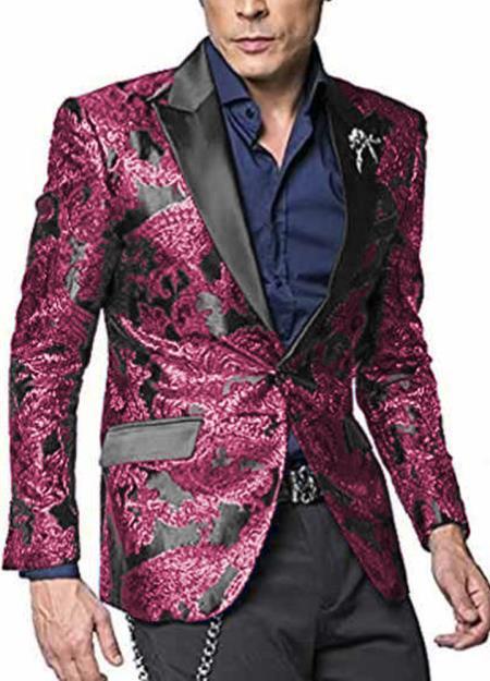 Mens Hot Pink ~ Fuchsia Flap Two Pockets Peak Lapel Blazer