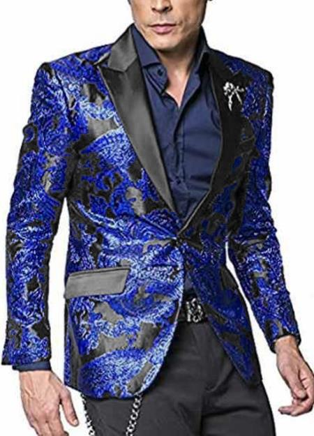 Mens Floral Satin Shiny Fashion Blazer Dinner Jacket Paisley Sport Coat Flashy Stage Fancy Party Peak Label Black/Blue