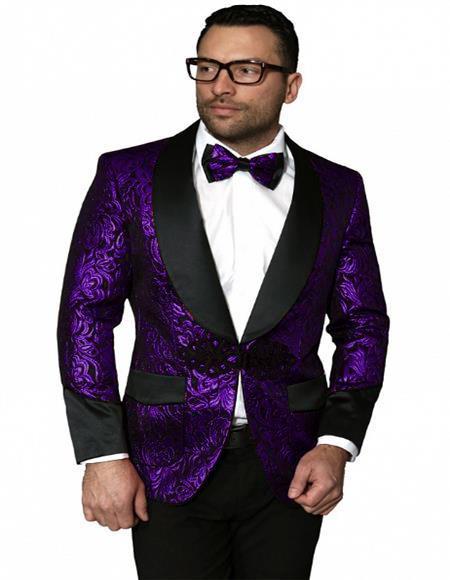 Men's Black and Purple Tuxedo Dinner Jacket paisley Pattern