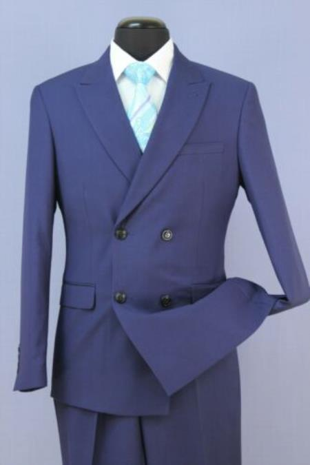 Men's French Blue 4 Button Double Breasted Suits Slim Fit Suit New With Peak Lapels