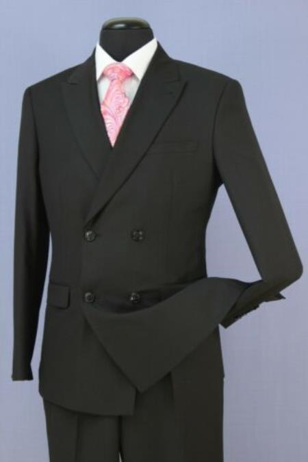 Mens Black 4 Button Double Breasted Slim Fit Suit New With Peak Lapels
