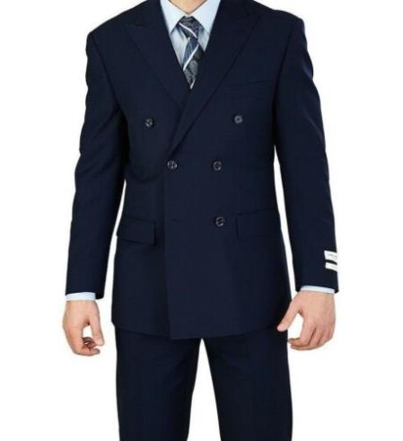 Men's Dark Navy Blue Double Breasted Suits 6 Button Classic Fit Suit NEW