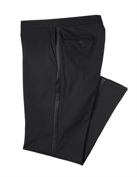 Mens Black Wool Blend Tuxedo Pants