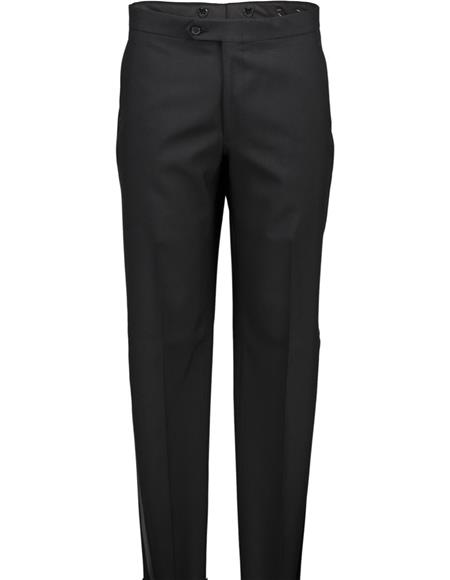 Mens Black Flat From Wool Tuxedo Pants