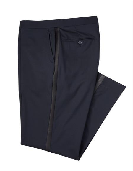 Mens Navy Wool Blend Tuxedo Pants