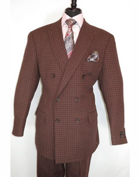 Apollo King Burgundy 100% Wool Double Breadted Suit