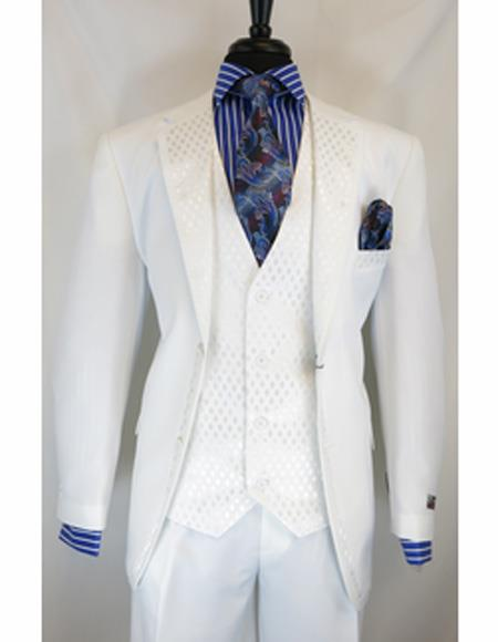 White Single Breasted Notch Lapel Suit
