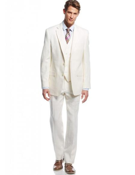 Linen Fabric Ivory Cream Vested 3 Piece Suit 2 Button Suit